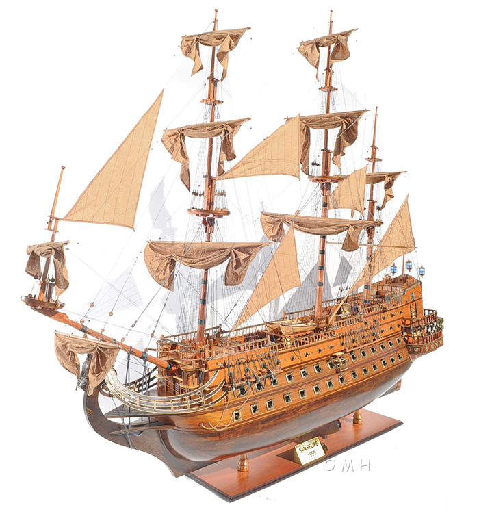 "San Felipe 88"" Wooden Tall Ship Model Spanish Galleon"